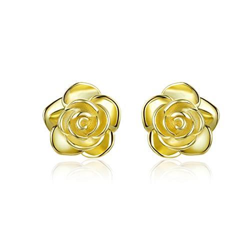 Ohrstecker, vergoldet, 925er Sterlingsilber, Rosen-Blume, für empfindliche Ohren, Frauen, Brautschmuck, Hochzeitsgeschenk