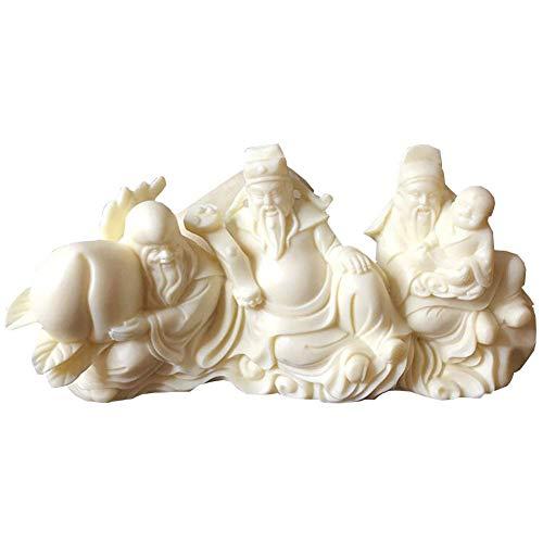 Fu Lu Shou Estatua Feng Shui, Dioses San Xing Tres Estrellas celestiales Deidad de la Prosperidad Figura de longevidad, Esculturas, Buda Chino Tao Decoración, Blanco