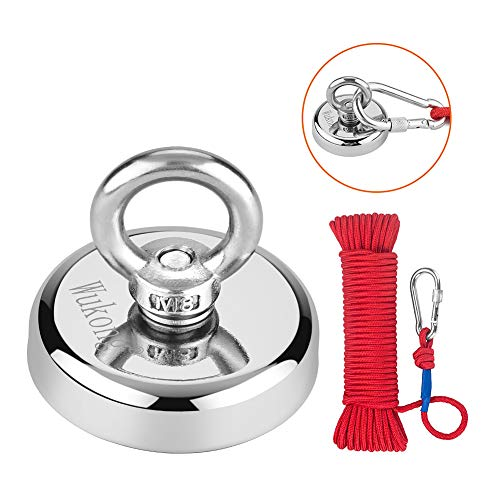 Fishing Magnet with Rope x 66ft, Wukong 290LB(132KG) Pulling Force Super Strong Neodymium Magnet with Heavy Duty Rope or Magnet Fishing and Retrieving in River - 60mm Diameter
