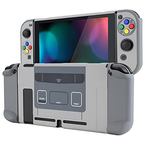 eXtremeRate Hülle Kompatibel mit Nintendo Switch Konsole Joy-Con, Case Harte Schutzhülle Zubehör trennbare andockbare Hülle für Nintendo Switch(SFC SNES Klassischer EU-Stil)