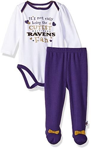 NFL Baltimore Ravens Baby-Girls Bodysuit, Pant, & Cap Set, Purple, 3-6 Months