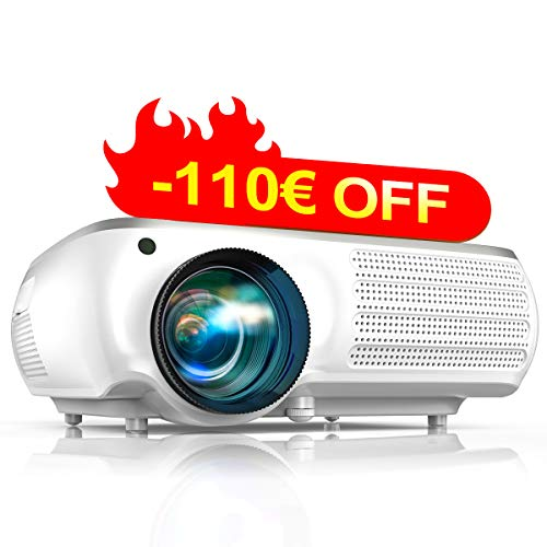 Proyector, TOPTRO 7000 Lúmenes Proyector Full HD 1080P Nativo 1920x1080 Soporta 4K,Proyectores Cine en Casa LED 100,0