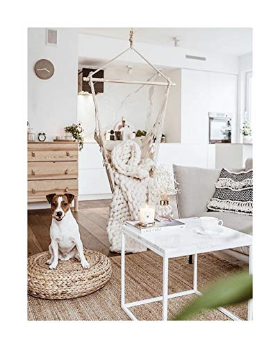 YYAPT-Y Canvas Enkele schommelstoel, Nordic Fringed Houten Stok Linnen Stoel, Geschikt voor Patio Slaapkamer 705-YY