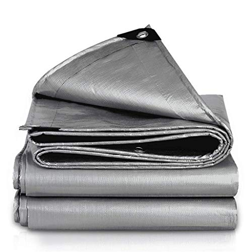 NMDCDH Tarp Light Quality Outdoor Waterproof Cloth Sunscreen Tarpaulin Thickening Truck Canvas Shade Awning Cloth Plastic Canopy Insulation Thickened Silver Coated