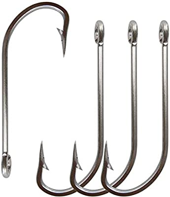 JSHANMEI 50pcs/lot Strong Stainless Steel O'shaughnessy Hooks 34007 Long Shank Saltwater Hook Trolling Fishing Hooks Set (5/0-50pcs)