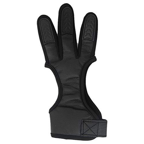 Neborn Guantes de Cuero para Tiro con Arco Guante de 3 Dedos Protector de Dedos para Tirar con la Mano Derecha Size XL