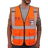 Dib Safety Vest Reflective ANSI Class 2, High Visibility Vest with Pockets and Zipper, Construction Work Vest Hi Vis Orange XL