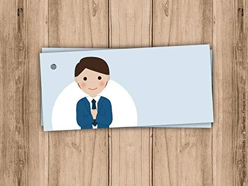 Etiqueta para detalle de Primera Comunión niño en color azul. Sin nombre, para escribir a mano. Pack 10 udes.