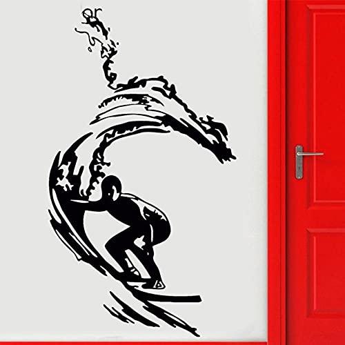 KDSMFA, surfista, tabla de surf, surf, playa, pegatina de pared, vinilo, decoración del hogar, calcomanía deportiva extraíble, decoración de interiores, Mural, papel tapiz 42x72cm