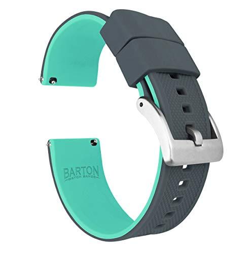 BARTON WATCH BANDS Reloj de silicona Elite Bandas de liberación rápida Elija Color de la correa Ancho para Unisex-adulto 24mm Gris