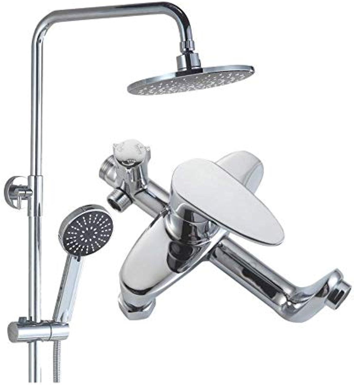 GWX Badezimmerduschsystem, Duschset, Warm-und Kaltwassermischung Edelstahl, DREI Wasserauslassmodi, Can Adjust The Height of The Top Duschkopf