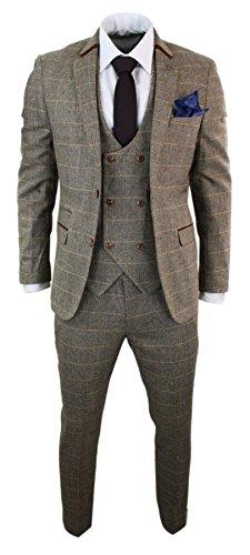 Marc Darcy Herrenanzug 3 Teilig Braun Fischgräte Tweed Design Kariert Tailored Fit Klassisch