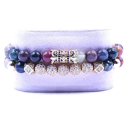 QYAQ Stone Bracelet For Women,7 Chakra Natural Indian Agate Stone Beads Bracelet Elasticity Five Golden Ball Bracelet Fashion Boho Lady Yoga Jewelry Gift For Girlfriend Mom