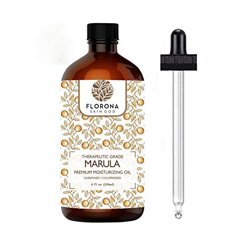 Florona Naturals Marula Facial Oil, 4oz - Cold-pressed, Refined Luxury Beauty Oil for Face and Hair - Vegan, Gluten-free and 100% Natural (Marula, 4 Oz)