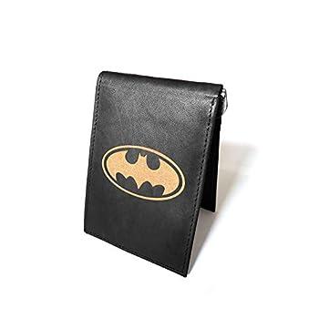Batman Logo Cowhide Leather Laser Engraved Engraving Minimalist Slim Money Clip Black RFID Blocking Front Pocket Leather Mens Wallets