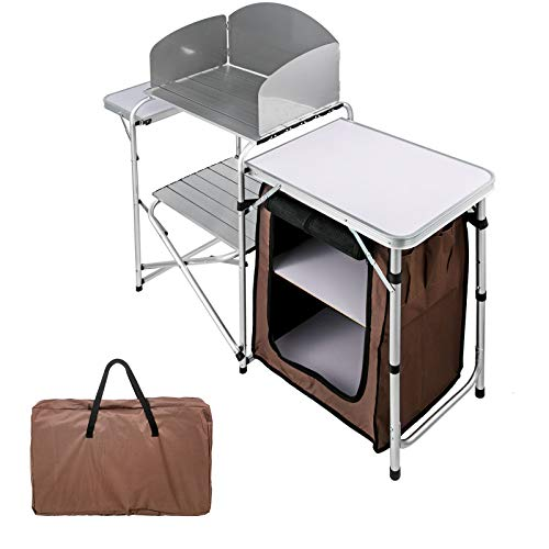 Camping Kitchen Table with Windscreen and Storage Organizer, Alunimum Folding Cook Table Lightweight Height Adjustable, Portable Camping Kitchen Brown for Outdoor Activities