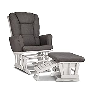 Graco Sterling Semi-Upholstered Glider and Nursing Ottoman, White/Gray Cleanable Upholstered Comfort Rocking Nursery Chair with Ottoman