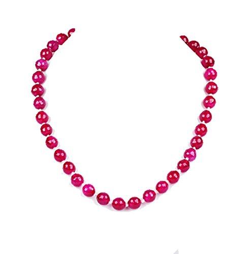 TreasureBay FAB 10mm rosa Gemstone de ágata con cierre magnético longitud del collar 48cm/19'–presentado en una bonita caja de regalo