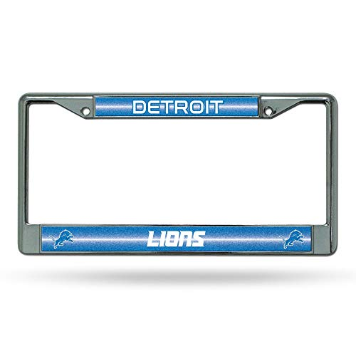 NFL Rico Industries Bling Chrome License Plate Frame with Glitter Accent, Detroit Lions