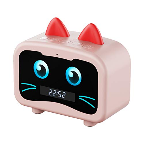 Logitech Inteligente Totoro Bluetooth Altavoz Reloj Despertador Encantador Pantalla LED Tarjeta de subwoofer al Aire Libre inalámbrico Regalo portátil,Pink