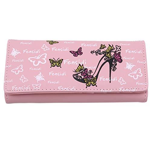 Winwinfly Frauen Schmetterling High Heels Muster Geldbörse Lange Brieftasche Handtasche für Mädchen Damen, Rosa