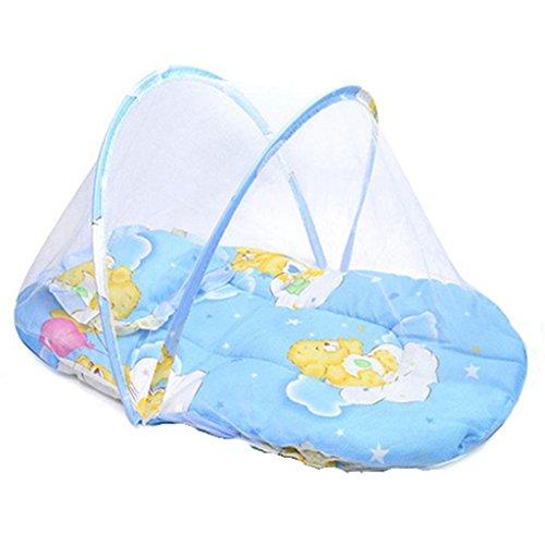 Plegable portátil Niño Bebé Tienda de Viaje mosquitera cuna cama con almohada azul azul