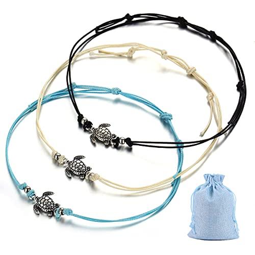 Jxuzh 3 pulseras tobilleras para mujer con diseño de tortuga, bohemias, tortugas, bohemias, tortugas, tobilleras, para mujeres y niñas