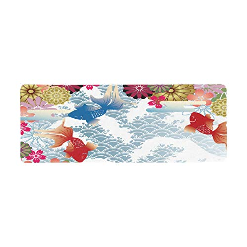 InterestPrint Soft Extra Extended Large Gaming Mouse Pad with Stitched Edges, Desk Pad Keyboard Mat, 31.5 x 12In - Traditional Japanese Waves and Koi Fish Floral Icons Folk Design