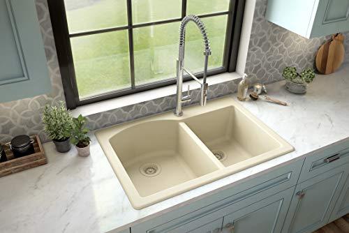 Karran QT-610 Drop-In Quartz Composite 33 in. 1-Hole 60/40 Double Bowl Kitchen Sink in Bisque