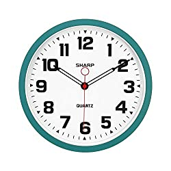 SHARP Matte Teal Wall Clock 12.3 Inch Silent Non-Ticking Modern Stylish Quartz Clocks Battery Operated, Easy to Read