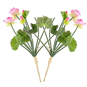 BESTOYARD 2 Pcs Artificial Lotus Flowers Water Lily Flowers Plants Floral Greenery Stems Fake Flowers Arrangement for Home Party Wedding Decoration White