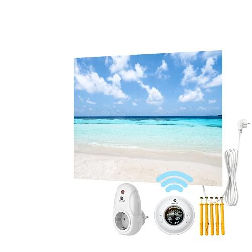 Bringer Bild Infrarotheizung rahmenlos - Bildheizung mit UV Druck - 80x60x1,8cm - Malediven