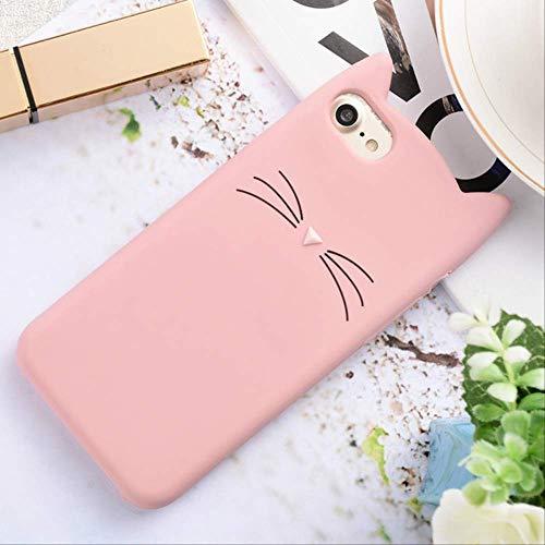 para iPhone 6 6S 7 8 Plus 5S SE 5C Pareja Funda Blanda Love Heart Glitter Stars Luck Cat Funda Dynamic Liquid Quicksand Funda para iPhone 7 Pink