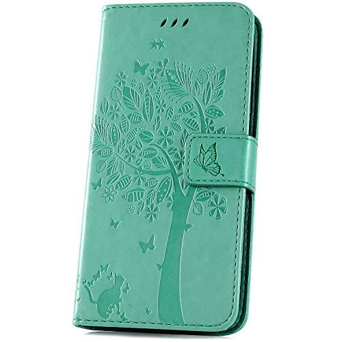 JAWSEU Funda Compatible con Xiaomi Redmi Note 6 Pro Libro Cover Cartera de Cuero PU Leather Billetera TPU Silicona Suave Carcasa con Gato Mariposa Diseño Soporte Plegable Cierre Magnético-Rosado