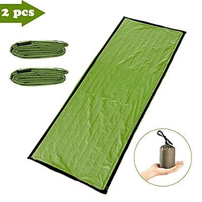 YAZOM Emergency Sleeping Bag, Survival Sack Use as Emergency Blanket, Waterproof Thermal Lightweight Sleeping Blanket Bag for Outdoor Hiking Camping, 2Pack Green