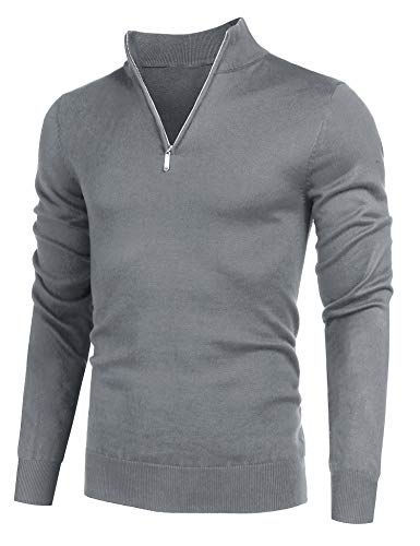COOFANDY Men's Quarter Zip Sweaters Slim Fit Lightweight Cotton Mock Turtleneck Pullover Grey