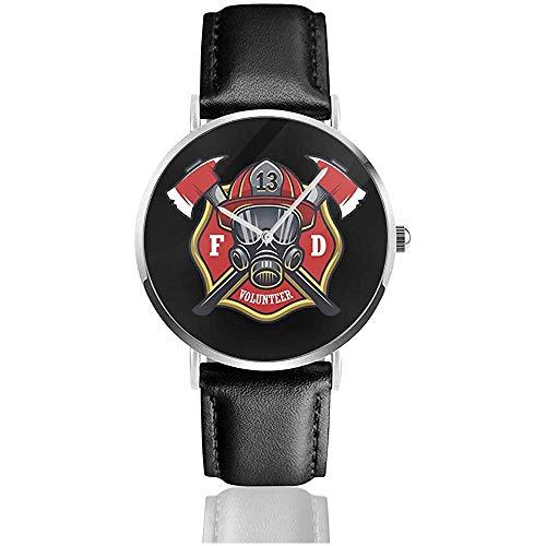 UV Impreso Relojes Bombero Logo PNG Reloj de Cuero con Correa de Cuero PU