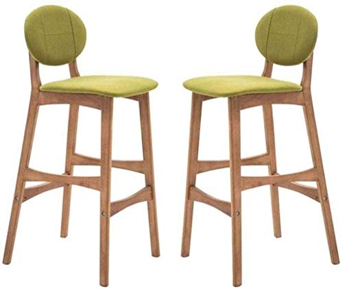 Daily Equipment Stools Set of 2 Dining Chair Wooden Barstool Vintage Rustic Kitchen Pub Stools Footrest Linen Cushion Seat Counter Modern with High Back Padded Retro Furniture Green SeatHeight65cm
