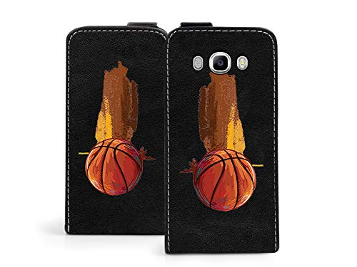 etuo Hülle für Samsung Galaxy J7 (2016) - Hülle Flip Fantastic - Basketball Handyhülle Schutzhülle Etui Case Cover Tasche für Handy
