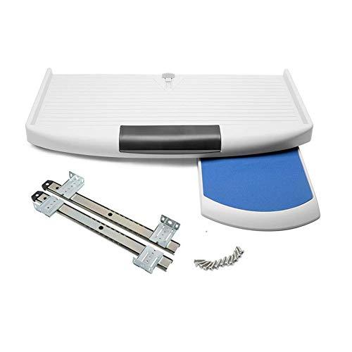 Bandeja de teclado para debajo del escritorio, plataformas con bandeja para ratón para oficina en casa (blanco)