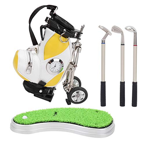 VGEBY Mini Golf Pen Set, Office Desktop Game Mini Golf Club Pen Holder Set with Golf Bag Holder with 3 Pieces Golf Ballpoint Pen Golf Bag with Clocks for Business Gift Souvenirs