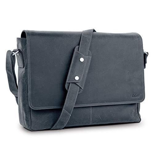 TALED® Premium Messenger Bag Herren-schwarz - Laptoptasche Leder mit 15,6 Zoll inkl....
