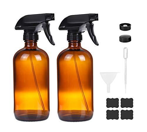 Moonetto - 2 botellas vacías rellenables de vidrio ámbar con pulverizador de 16 oz (16.9fl oz) para plantas, producto de limpieza, aceite esencial o aromaterapia, rociador negro con ajustes de niebla y flujo