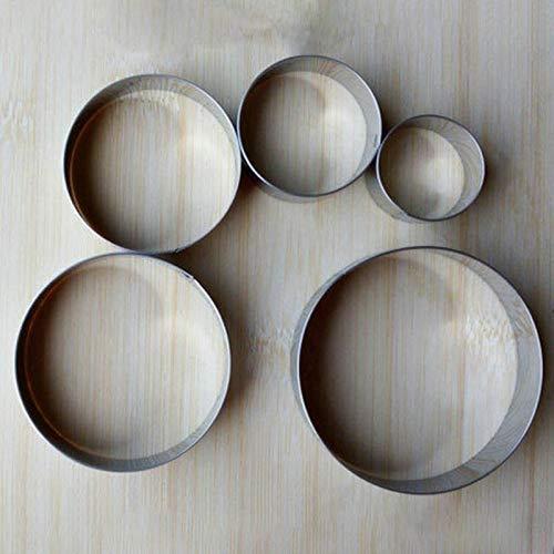 Moonlight Star Biscuit Acier Inoxydable Moule Forme Ronde Portable gâteau Fondant Moule de Cuisine Gadgets de Cuisson Accessoires Emporte 5Pcs (Couleur : 1 Set)