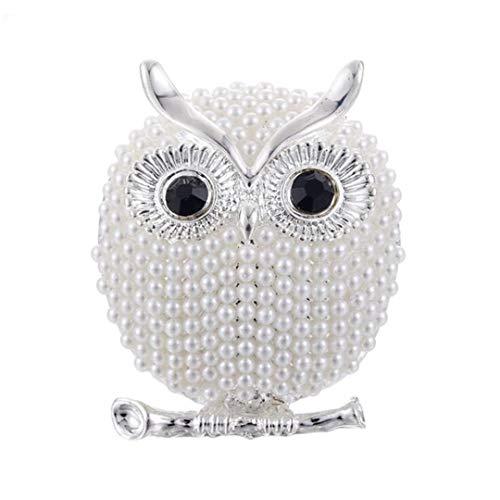 Silber Gold Farbe Cz Owl Corsage Brosche simulierter Beschlagene Perlen Hochzeit Zubehör Braut Broschen 1