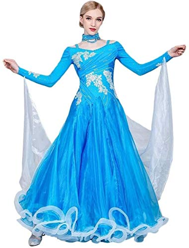 Seda Traje De La Danza De Baile Vestido De Cristal Hecha A Mano Moderna Bordado Caliente De Perforación De Baile De Salón Vestido De Leche (Color : Lake Blue, Size : M)