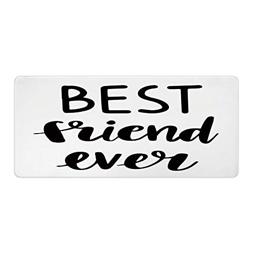 "AmaUncle Desk Pad Office Desktop Protector Best Friend, Best Friend Ever Cursive Rubber Desk Mat Blotters Organizer with Comfortable Writing Surface W23.6"" x L11.8"" AM004966"