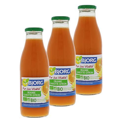 Bjorg Pur Jus Vitalité Orange Carotte Citron - 100% pur jus de fruits bio - 75 cl - Lot de 3
