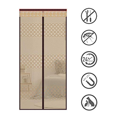 ROYWY Magnetic Fly Screen Door,Anti-Mosquito Curtain,Super Quiet Stripes Encryption,Keep Bug Out Let Fresh Air in for Balcony Sliding Living Room Children's Room/Marron / 190 * 240cm