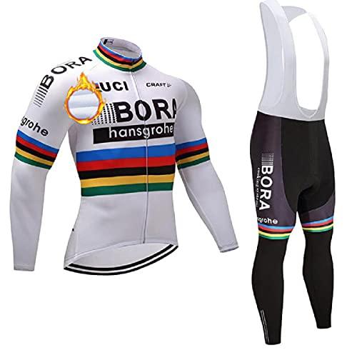 ASHBEIK Abbigliamento Ciclismo Uomo Invernale, Elastico Magliette Ciclismo Maniche Lunghe con Pile Termico e Pantaloni Lunghi 5D